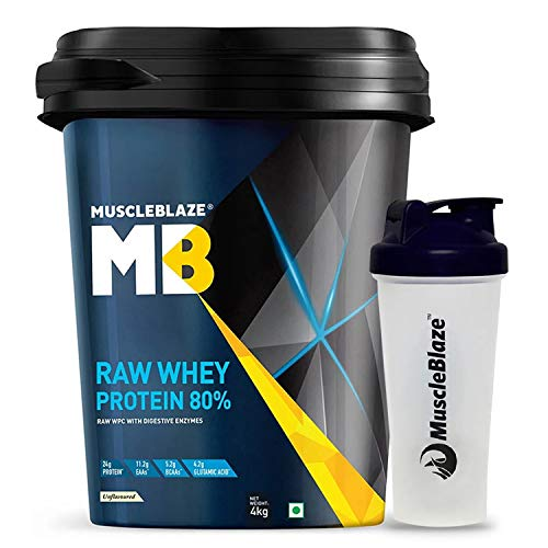 MuscleBlaze Raw Whey Protein (Unflavoured, 4 kg / 8.8 lb, 131 Servings) with Free Shaker