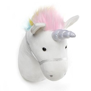 GUND Unicorn Plush Head Stuffed Animal Hanging Wall Décor, White, 15″ 41KM3u2MSML