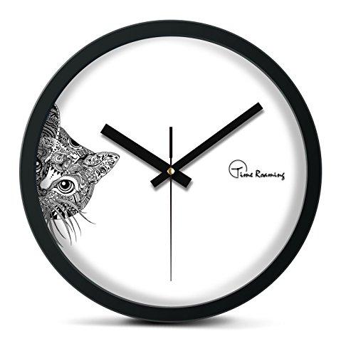 Time Roaming 10' Modern Decor Silent Metal Wall Clock, Peep Cat