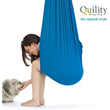 Quility Indoor Therapy Swing for Kids with Special Needs | Lycra Snuggle Swing | Cuddle Hammock for Children with Autism, ADHD, Aspergers | Ideal for Sensory Integration (Up to 165lbs, Light Blue)