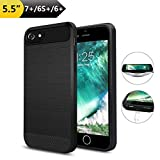 Wireless Charger Charging Case for iPhone 7 Plus/6S Plus/6 Plus(Only for Plus),ANGELIOX Qi Wireless Charging Receiver TPU Protective Phone Cover,Brushed Surface(Not Battery-5.5')-Black