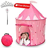Kiddey Princess Castle Play Tent (Pink) - with Glow in The Dark Stars - Indoor/Outdoor Playhouse for Girls, with Carry Case for Easy Travel and Storage. Great Gift Idea