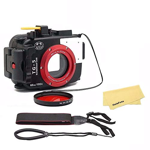SeaFrogs-Waterproof-Underwater-Camera-Case-for-Olympus-TG5-with-67mm-Red-Filter-Combo-Applied-to-60m195ft