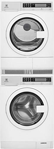 Electrolux White Compact Stacked Front Load Laundry Pair with EFLS210TIW 24' Washer, EFDE210TIW 24' Electric Dryer and STACKIT24C Stacking Kit