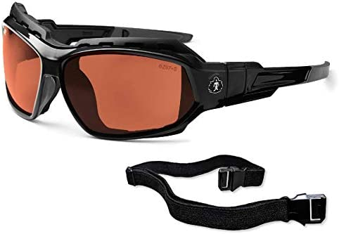 Ergodyne Skullerz Loki Convertible Polarized Safety Sunglasses, Copper Lens-Includes Gasket and Strap to Convert to Goggle, Polarized Copper Lens, Black Frame