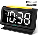 ANJANK Digital Alarm Clock for Bedrooms - Easy Night Light,Large Numbers with LED Display Dimmer,Dual USB Charger Ports,AC Powered Compact Clock for Desk,Bedside,Nightstand(Black)
