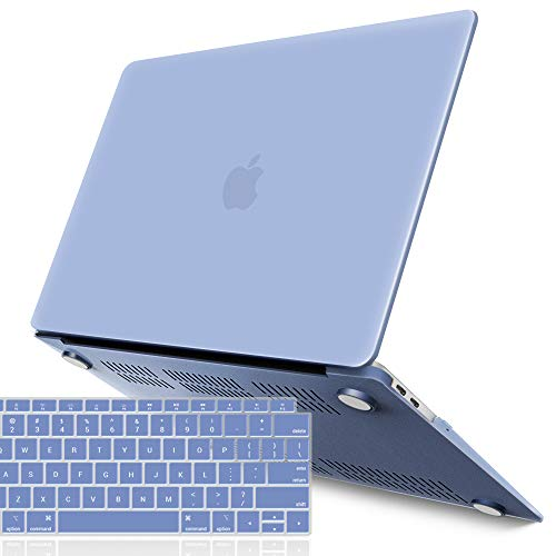 IBENZER MacBook Air 13 Inch Case 2018 Release New Version A1932, Soft Touch Hard Case Shell Cover for Apple MacBook Air 13 Retina with Touch ID with Keyboard Cover, Serenity Blue, MMA-T13SRL+1