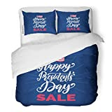 Emvency Bedding Duvet Cover Set Red Badge Happy Presidents Day Sale Phrase in National American Holiday USA Flag on Blue Festive Celebration 3 Piece King 104'x90' Quilt Cover with Zipper Closure