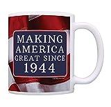 75th Birthday Gifts Making America Great Since 1944 Funny 75th Birthday Party Supplies 75th Birthday Gag Gift Coffee Mug Tea Cup USA Flag