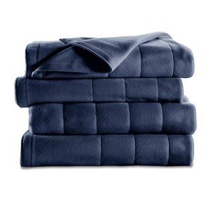 Sunbeam Heated Blanket | 10 Heat Settings, Quilted Fleece, Newport Blue, Twin – BSF9GTS-R595-13A00