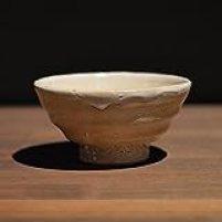 Japanese traditional ceramic Hagi ware. Guinomi sake cup with wooden box made by Keita Yamato.