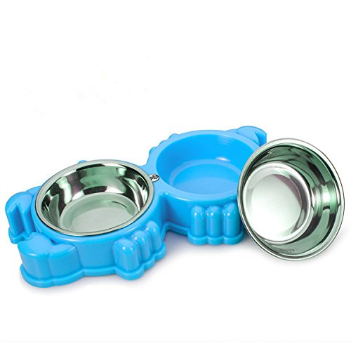 Small Pet Bowls & Cat Dog Bowl ,Pet dish Feeding Station with Stainless Steel Pet Water Food Feeder for Cats Dogs and other Small Animal (Blue)