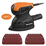 Random Orbit Sander, Meterk 13500RPM Mouse Detail Sander Wall Putty Polishing Machines Sander with 16PCS Sandpapers Dust Collection Port for Tight Spaces Sanding in Home Decoration and DIY Working