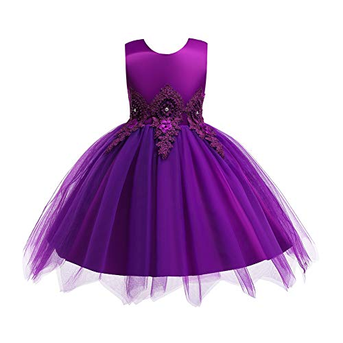 HUAANIUE Baby Toddler Girls Wedding Pageant Dresses Birthday Party Dress Purple 2-3 T