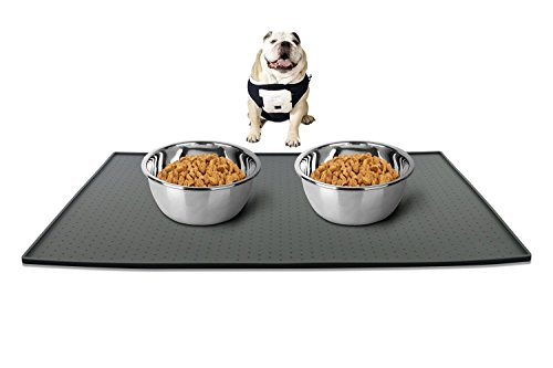 Leeko Silicone Waterproof Dog Cat Pet Food Mats Tray, FDA Grade Silicone Waterproof Pet Food Mat, No Mess Pet Food Mat Dog Bowl Placemat 1