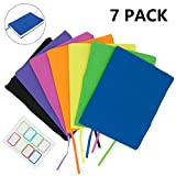 KIMCOME Jumbo Book Covers 7 Pack, Stretchable Book Sox Suitable For Most Hardcover Books, Up To 9.5 Inch x 14 Inch  Durable, Washable, Reusable Protective Textbook Covers with Label Sticker