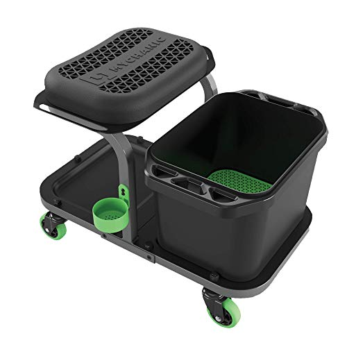 MYCHANIC Detailing Rig | Car Wash Organizer, Heavy Duty Rolling Seat with Wash Bucket and Grit Trap