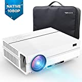 TOPVISION Native 1080P Video Projector with Carrying Case, 5000Lux Full HD Projector 80000Hrs Lamp Life, Compatible With Laptop, Fire Stick, HDMI, VGA, USB,DVD, Smartphone for PowerPoint Presentation