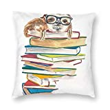 SARA NELL Velvet Throw Pillow Cases,Sloth Teacher Reading Books,Pillow Covers Decorative 18x18 in Pillowcase Cushion Covers with Zipper