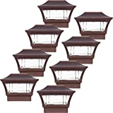 GreenLighting 8 Pack Aluminum Solar Post Cap Light 4x4 Wood or 5x5 PVC (Bronze)