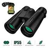 Binoteck 12x42 Binoculars for Adults Clear Weak Light Vision Compact HD Binoculars for Bird-Watching Travel Hunting Concerts Opera Sports Bak4 Prism Fmc Lens with Phone Mount Strap Carrying Bag, Black