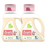 Dreft Purtouch Baby Liquid Laundry Detergent, Hypoallergenic for Baby, Infant or Newborn, 80 oz (2 Pack, 40 oz Each) (Packaging May Vary)