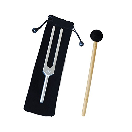 Mr. Sleeply Tuning Fork 432 Hz, Non-Magnetic Aluminum Alloy Tuning Fork for Violin Piano Guitar with Mallet & Cleaning Cloth Bag Healing Tuned Tuning Fork