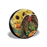 Guiwangli Vintage Thanksgiving Turkey Pumpkin Spare Wheel Tire Cover 14' 15' 16' 17' Waterproof Dust-Proof Fit for Trailer