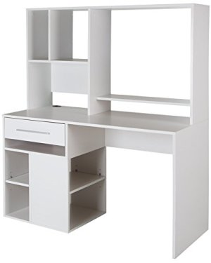 South Shore 9053070 Narrow Home Office Computer Desk with Hutch, Pure White