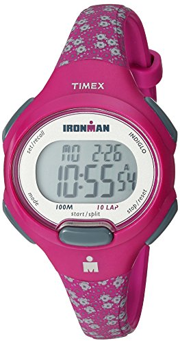 Timex Women's TW5M07200 Ironman Essential 10 Mid-Size Teal Floral Resin Strap Watch