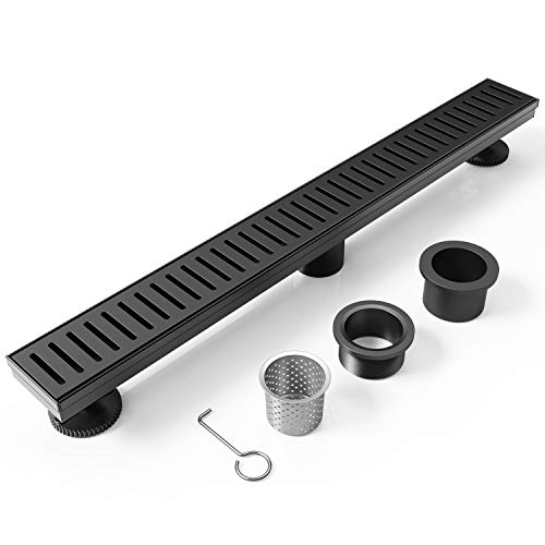 WEBANG-72-Inch-Rectangular-Linear-Shower-Floor-Drain-With-AccessoriesCapsule-Pattern-Grate-RemovableFood-grade-SUS-304-Stainless-SteelWATERMARKCUPC-CertifiedMatte-Black