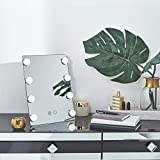 Beautify Lighted Vanity Mirror with 8X Dimmable White LED Bulbs with Touch Screen, Hollywood Style Makeup Cosmetic Tilted Mirror and Black Stand