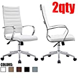 Product review for 2xhome - Set of Two (2) - White- Modern High Back Tall Ribbed PU Leather Swivel Tilt Adjustable Chair Designer Boss Executive Management Manager Office Conference Room Work Task Computer