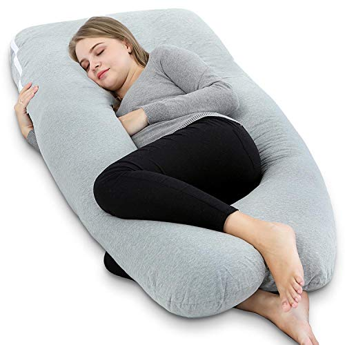 AngQi 55' Full Body Pregnancy Pillow, U Shaped Maternity Pillow for Pregnant Women and Back Pain, with Body Pillow Jersey Cover, Gray