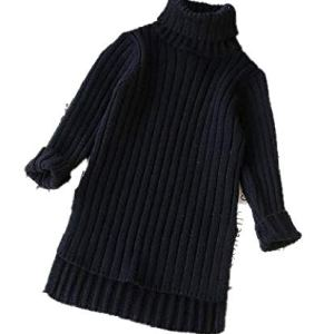 BCVHGD Toddler Girls Sweaters Autumn Winter Long Sweater for Girls Stripe Warm Turtleneck Knitted Pullover Tops