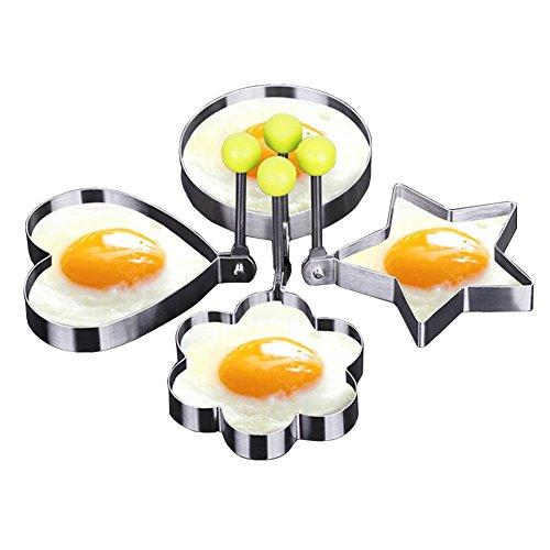 Littlegrass Molde para huevo frito, anillos de acero inoxidable, diferentes formas corazón,...