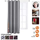 Acepunch Soundproof Blackout Thermal Insulated Noise Reducing Window Curtains 51.2' x 70.9' GRAY AP1145