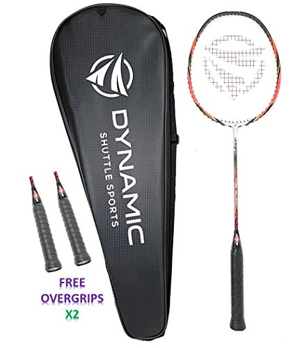 Dynamic Shuttle Sports Ares Red 68 Premium Carbon Fiber Indoor/Outdoor Professional Badminton Racket with Cover- for Both Offensive and Defensive Players, Good for All Levels…