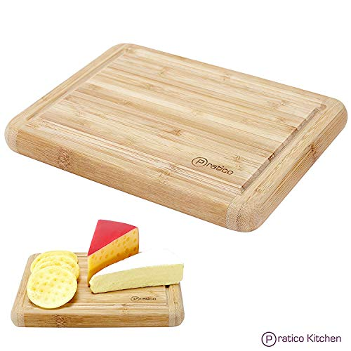 Small Bamboo Cutting Board and Serving Tray with Juice Groove - 8 x 6 inches - Made Using Premium Bamboo