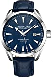 Stuhrling Original Blue Watch for Men Analog Watch Dial with Date - Blue Calfskin Leather Band, 3953 Mens Watch Collection