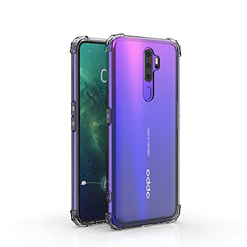 Casodon Plain Flexible Bump Side Air Cushion Back Cover for Oppo A9 2020 Dual Layer Transparent Ultra Clear Finish 187