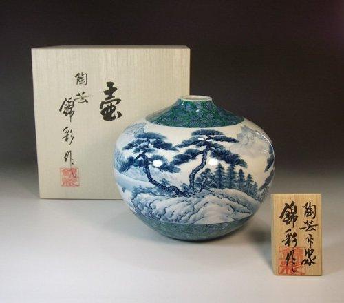 Arita - Imari pottery vase | luxury gifts | Gifts | souvenir | gift | landscape painting - potter Fujii NishikiAya
