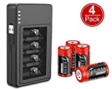 Arlo CR Rechargeable Batteries Upgrade 4 Pack 123A 3.7V 800mAh Protected Batteries with Case and Arlo Battery Charger for Arlo VMC3030 VMK3200 VMS3330 3430 3530 Wireless Security Cameras Alarm System