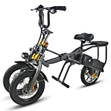 CZALBL Three-Wheel Folding Electric Vehicle, Portable Folding Aluminum Alloy Material Tricycle for Crowded Urban Traffic