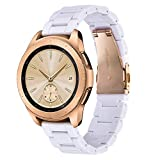 V-MORO White Strap Compatible with Galaxy Watch 42mm Bands/Active 40mm Band Women 20mm Light Bracelet with Rose Gold Stainless Steel Buckle for Samsung Galaxy Watch 42mm R810/Galaxy Watch Active 40mm