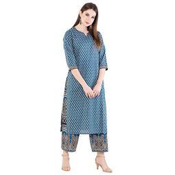 Harshana Womens Cotton Kurta with Palazzo – Printed, Calf Long, Straight Kurtas for Casual Wear