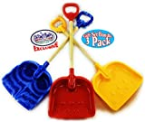 Matty's Toy Stop 28' Heavy Duty Wooden Snow Shovels with Plastic Scoop & Handle for Kids Red, Yellow & Blue Swirl Gift Set Bundle - 3 Pack