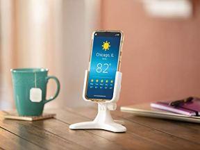 WeatherTech-DeskFone-Universal-Desktop-Cell-Phone-Holder-Black-Billet-Knobs