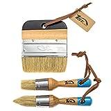 1st Place Ultra Chalk & Wax Natural Bristle Brush Set - 2 Piece Brush Set & 4' Flat Brush - (3 Brushes)