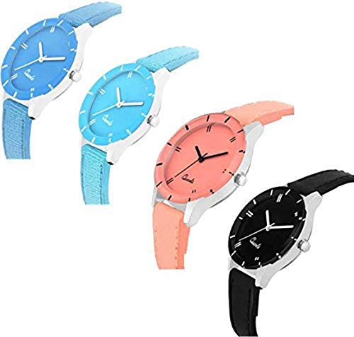 Acnos 4 Stylist Analog Watches Combo Set for Women Pack of-4(605-blk-sb-org-blu) TODAY OFFER ON AMAZON
